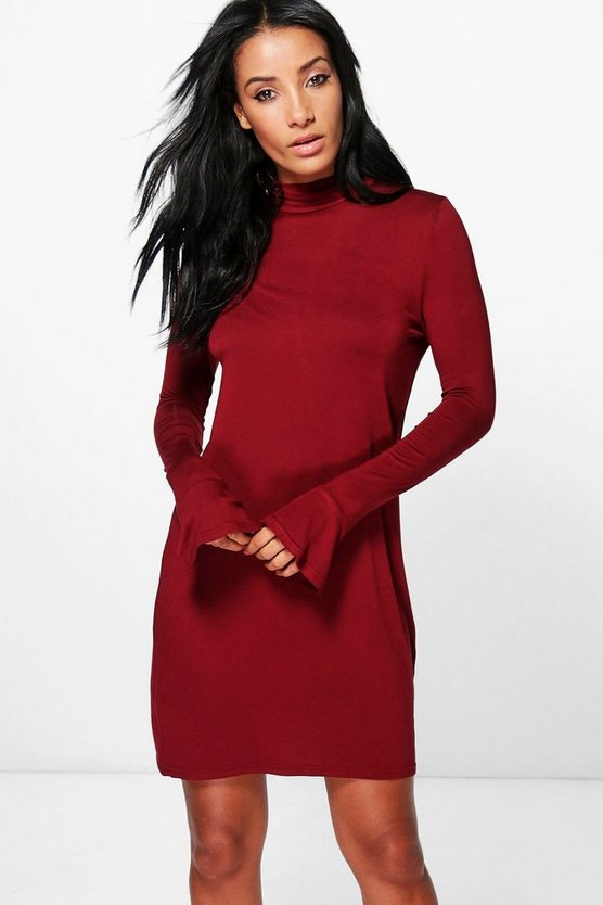 Briella High Neck Frill Cuff Shift Dress