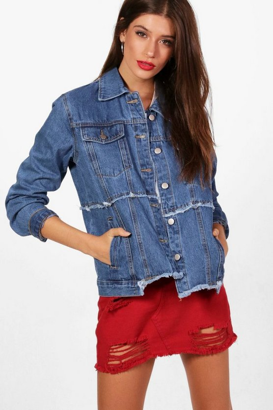 Jodie Frayed Seam Oversized Denim Jacket