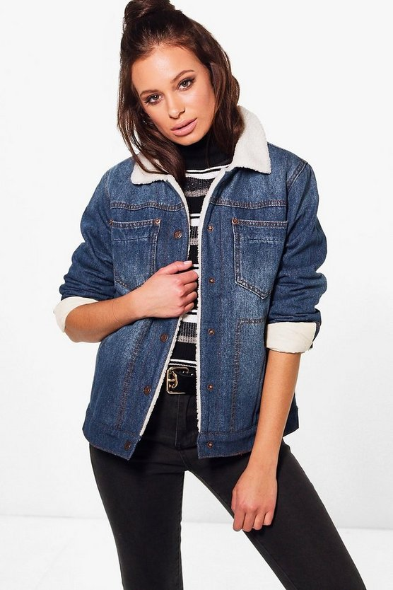 Jenny Fully Lined Borg Denim Jacket