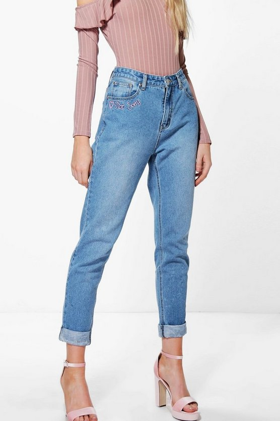 High Waist Slogan Hem Mom Jeans