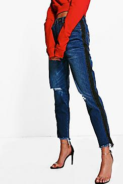 Hatty High Rise Two Tone Stripe Boyfriend Jeans