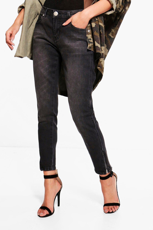 Twisted Zip Seam Mid Rise Skinny Jeans  black