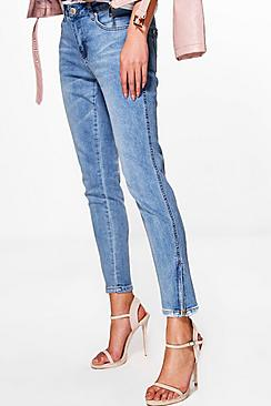 Tanya Twisted Zip Seam Mid Rise Skinny Jeans