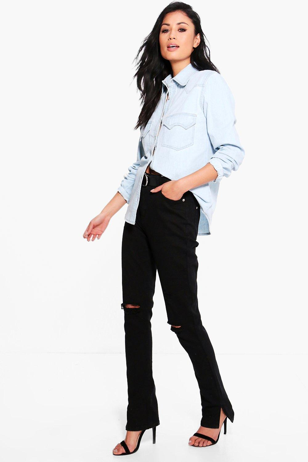 High Waisted Distressed Kick Flare Jeans  black
