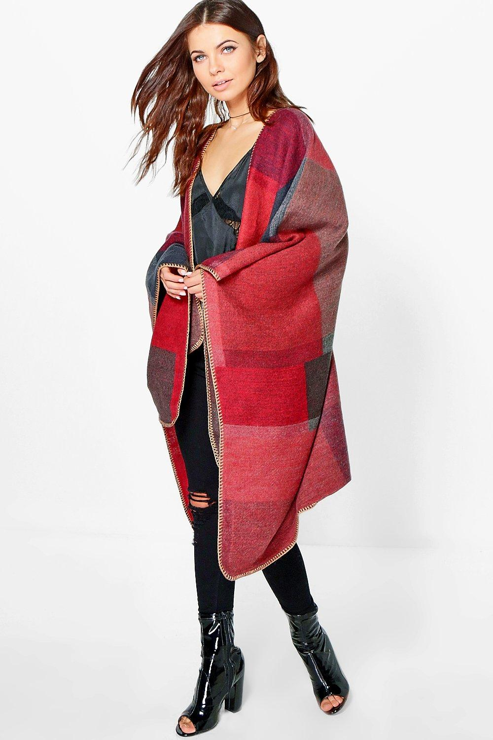 Sophia Block Check Oversized Cape
