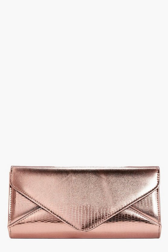 Frances Metallic Mock Croc Clutch Bag