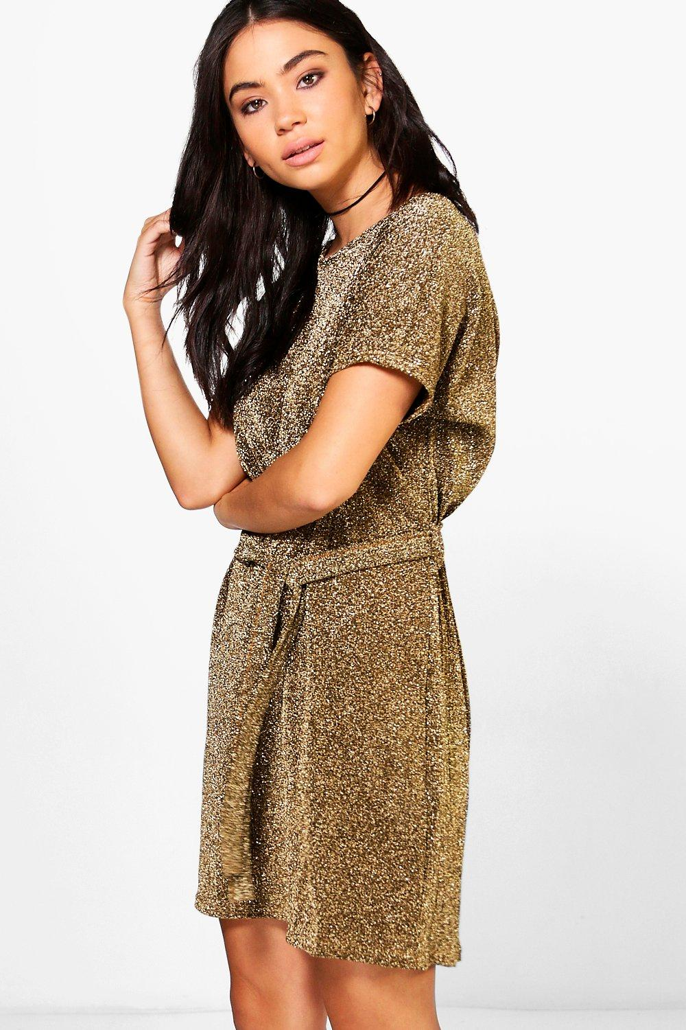 Keira Metallic Oversized Tie Waist Shift Dress
