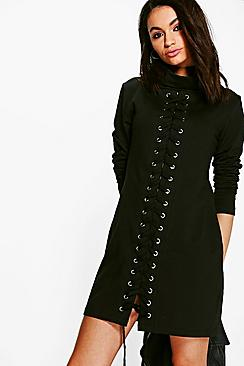 Dulce High Neck Lace Up Detail Sweat Dress