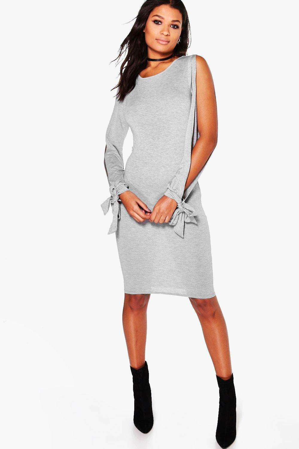 Addison Split Sleeved Tie Detail Midi Dress
