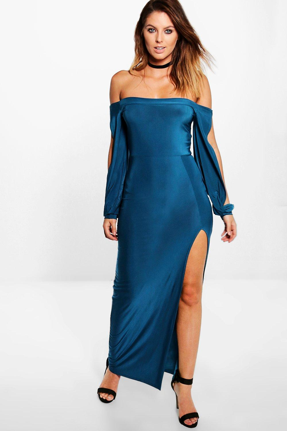Azra Off Shoulder Slinky Slit Sleeve Maxi Dress