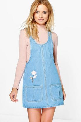 Runa Embroidered Denim Pinafore