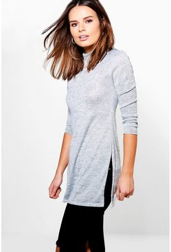 Phoebe High Neck Soft Knit Side Split Tunic