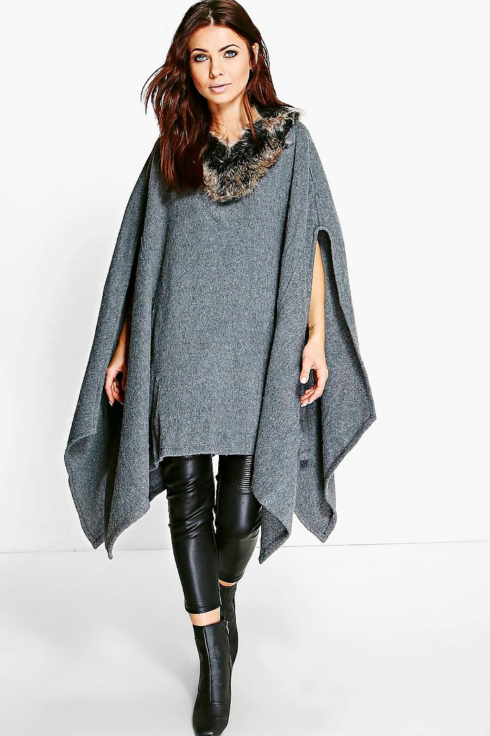 Elizabeth Wool Poncho With Faux Fur Trim