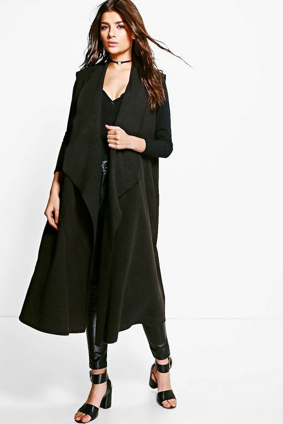 Georgia Sleeveless Waterfall Wool Look Duster