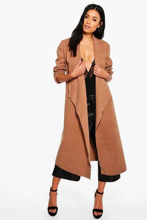 Evelyn Waterfall Wool Look Belted Duster