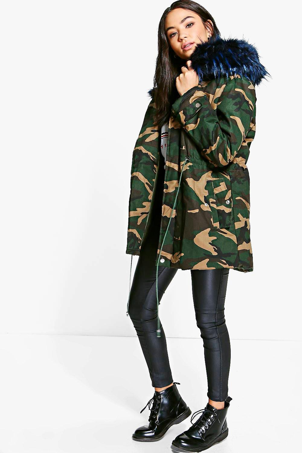 Camo Faux Fur Trim Parka - multi