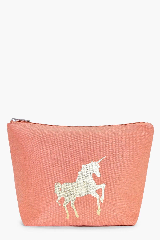 boohoo Foil Print Make Up Bag - pink