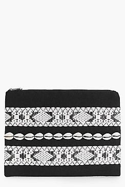 Esther Mono Aztec Shell Detail Clutch