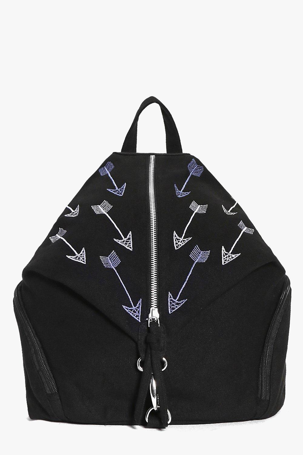 Arrow Embroidered Triangle Backpack - black - Anni
