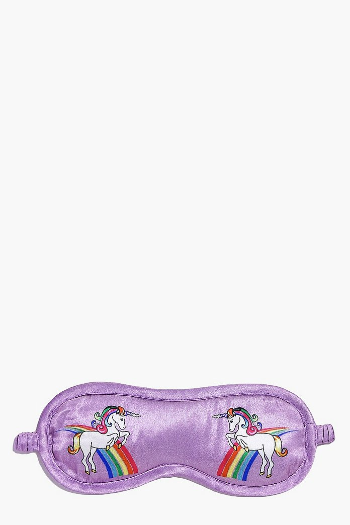 Unicorn Print Satin Eye Mask