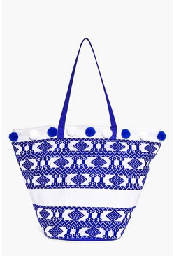 Anya Pom Pom Basket Shape Beach Bag