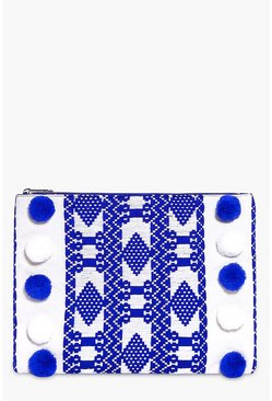 Edie Pom Pom Aztec Clutch Bag