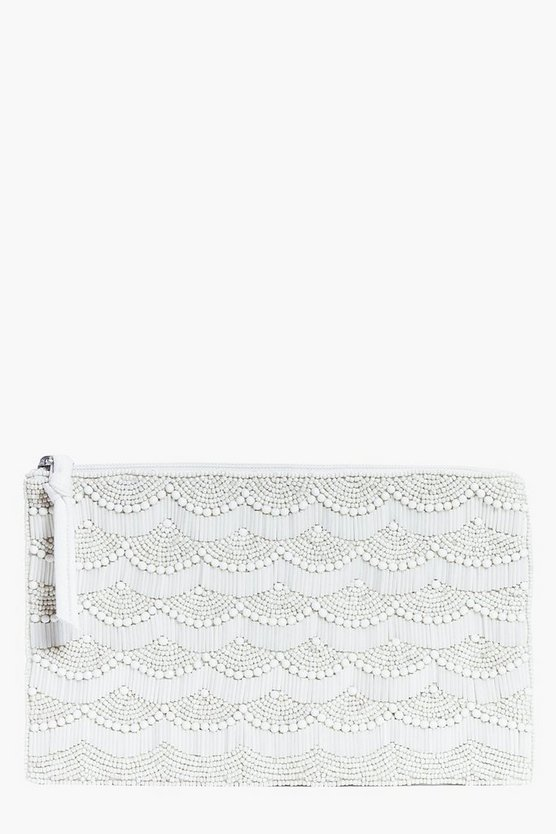 Madison Deep Sea Shell Beaded Clutch Bag