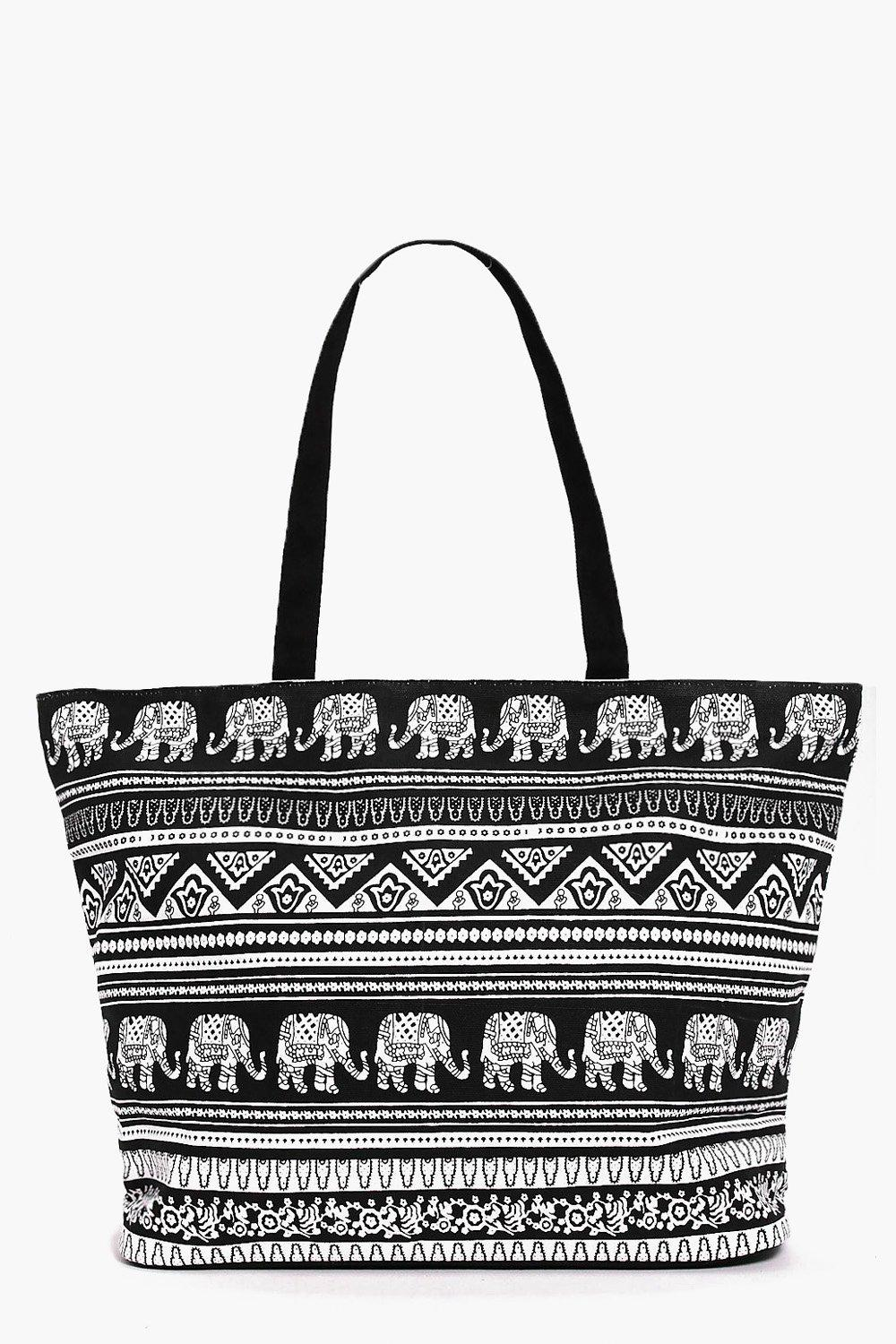 Elephant Print Beach Bag - black - Willow Elephant