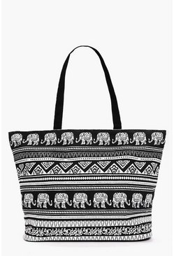 Willow Elephant Print Beach Bag