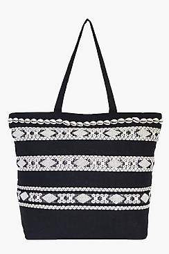 Iris Shell Detail Tassel Mono Shopper