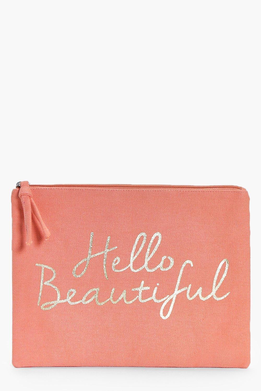 boohoo Beautiful Gold Foil Make Up Bag - pink