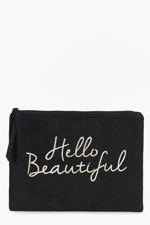 boohoo Beautiful Gold Foil Make Up Bag - black
