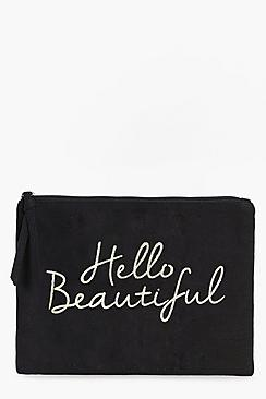 Hello Beautiful Gold Foil Make Up Bag