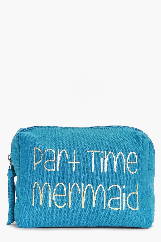 boohoo Time Mermaid Foil Make Up Bag - turquoise