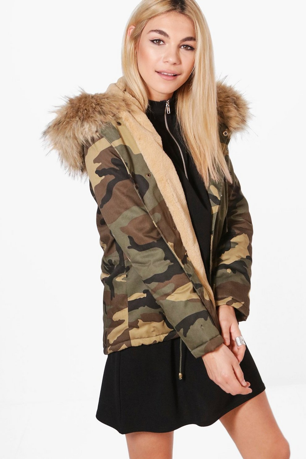 Jessica Short Camo Faux Fur Lined Parka | Boohoo