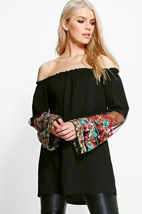 Emily Embroidered Mesh Flared Sleeve Off The Shoulder Top