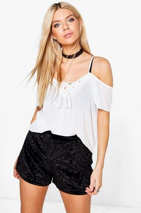 Cathy Cold Shoulder Lace Up Top