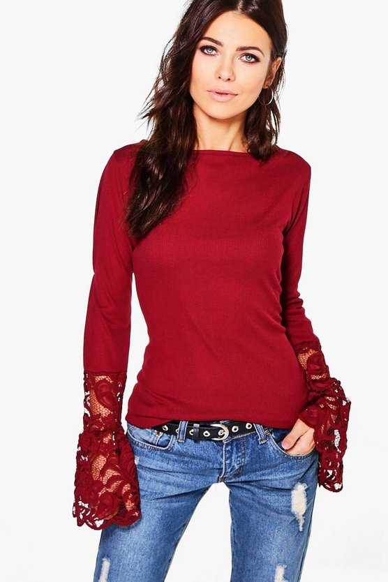 Ria Ribbed Lace Cuff Top