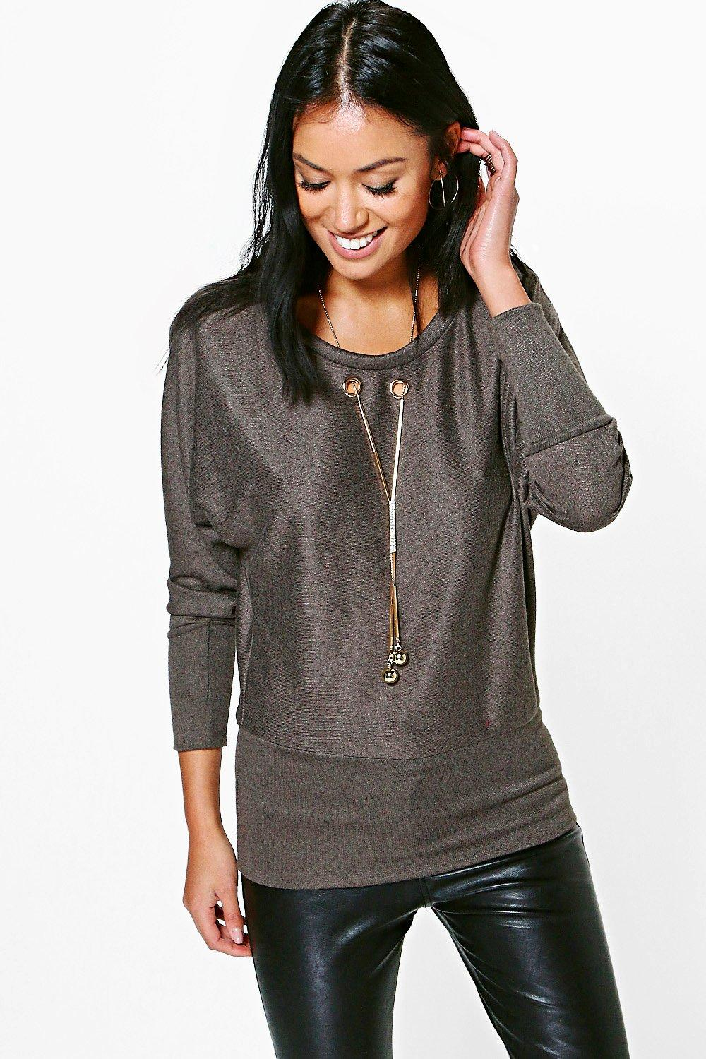 Lucy Fine Knit Jumper With Necklace