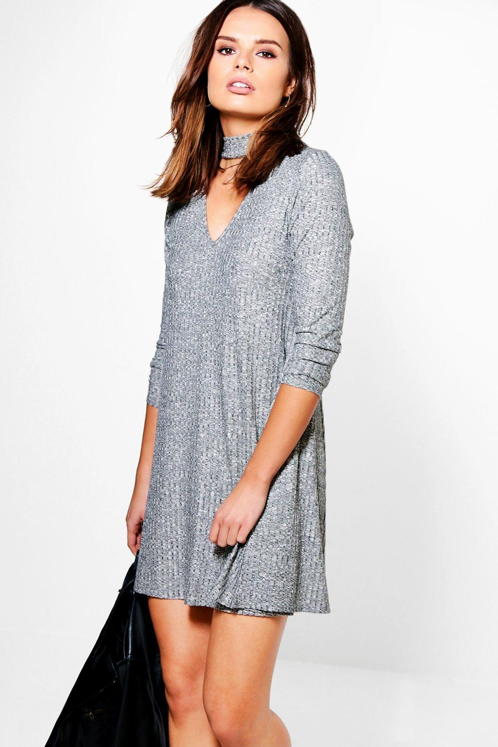 Brooke Rib Knit Choker Swing Dress
