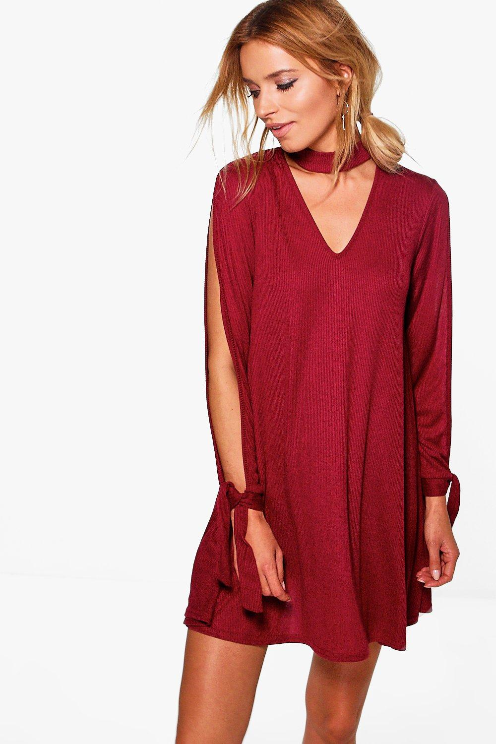 Leila Choker Sleeve Detail Rib Knit Swing Dress