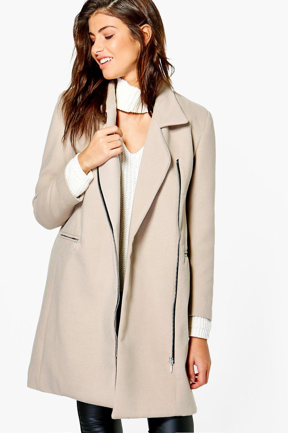 Tilly Zip Up Wool Look Coat