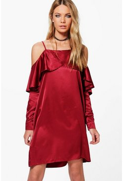 Greta Satin Open Shoulder Frill Shift Dress