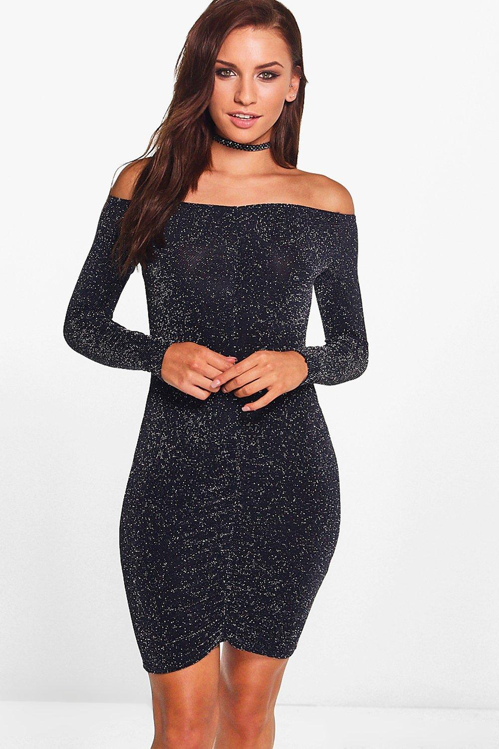 Hera Metallic Rouched Long Sleeved Bodycon Dress