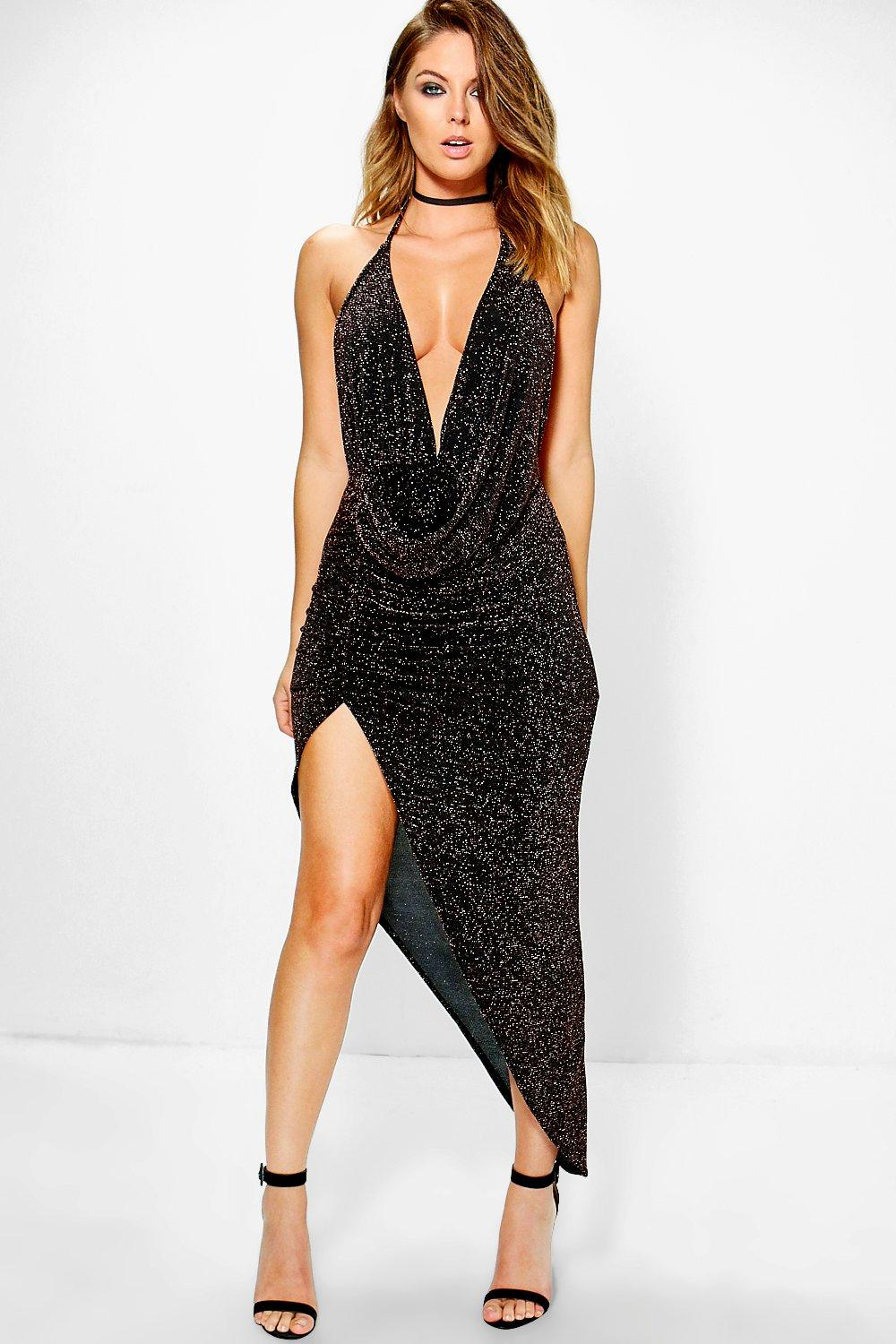 Loren Metallic Deep Plunge Drape Midi Dress