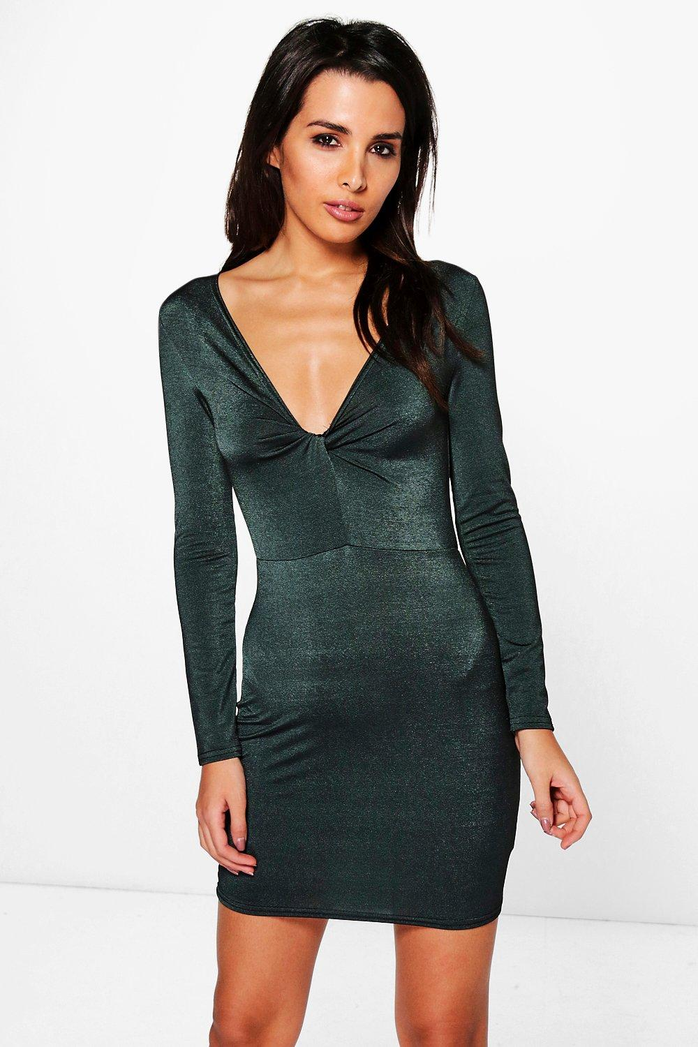 Tyra Textured Slinky Knot Front Bodycon Dress