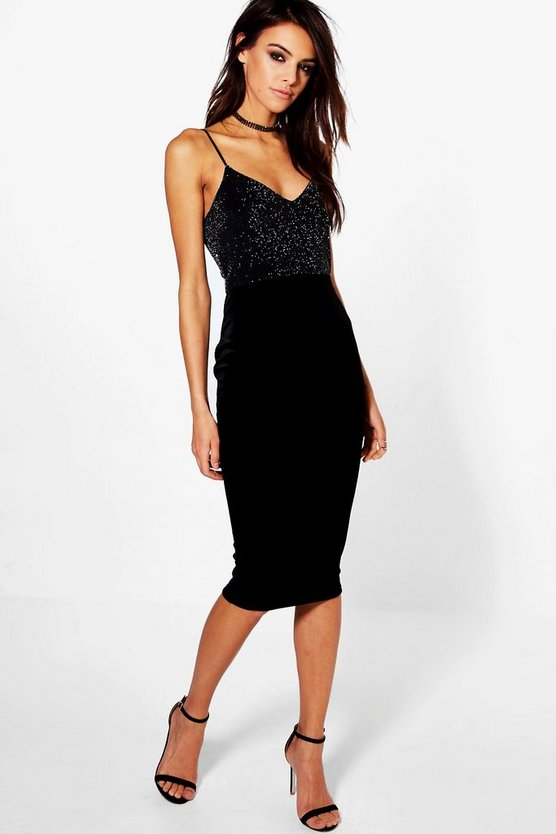 Jodie Metallic Top Velvet Midi Bodycon Dress