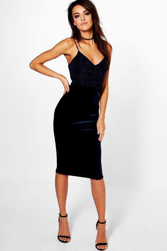 Metallic Top Velvet Midi Bodycon Dress