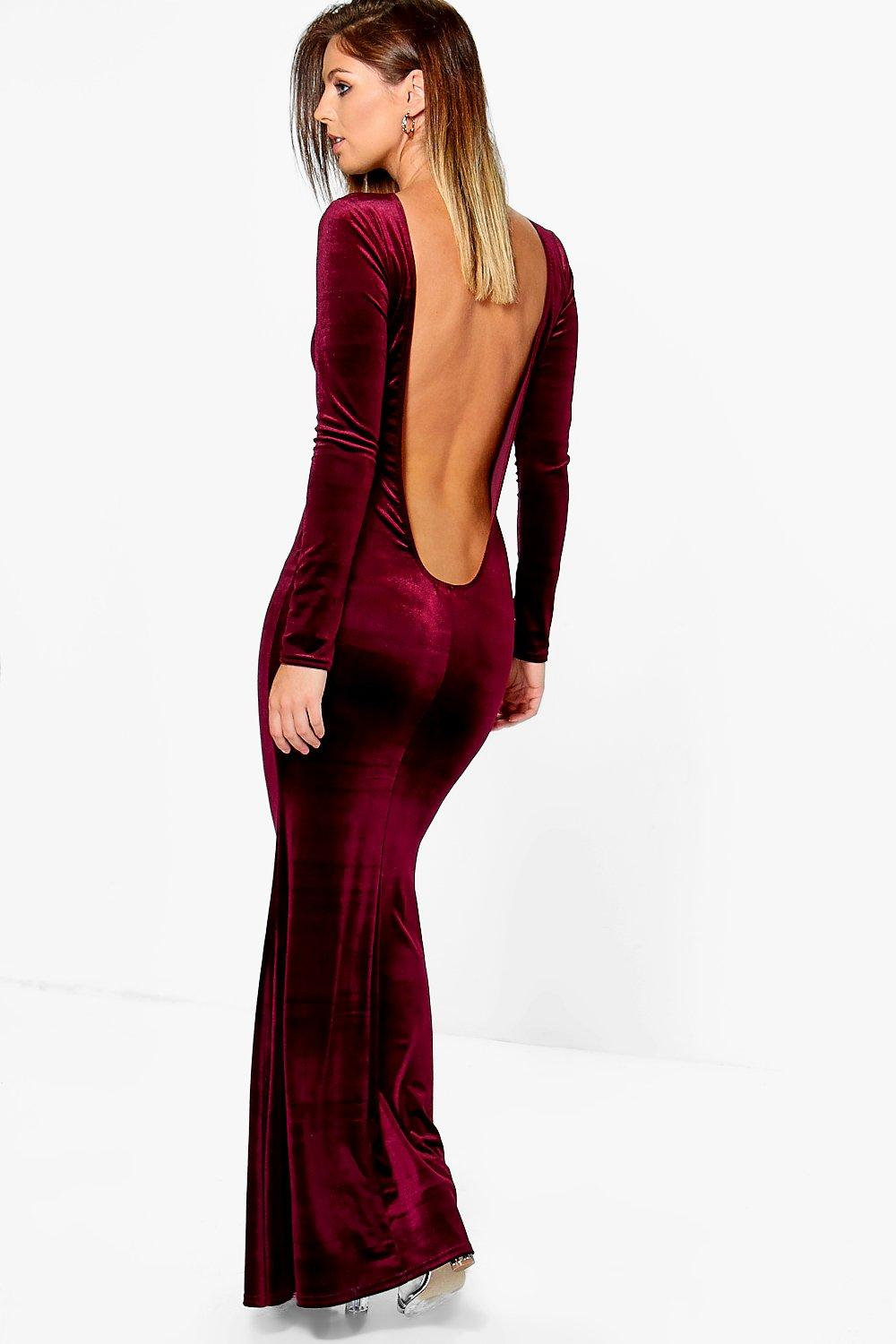 Aleesha Velvet Low Back Fish Tail Maxi Dress