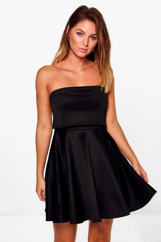 Maisy Double Layered Bandeau Skater Dress